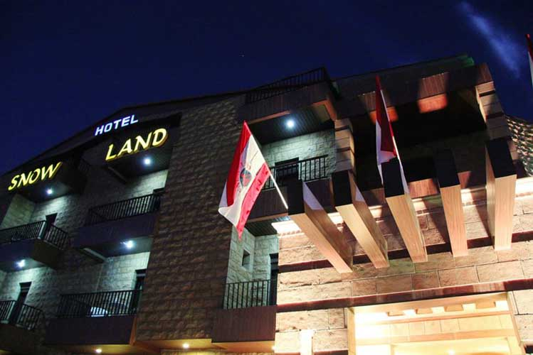 Snowland Hotel Front at Night